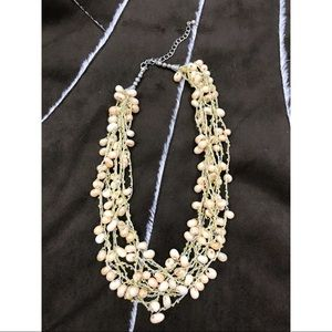 NWOT! Multi Strand Beige Beaded Necklace